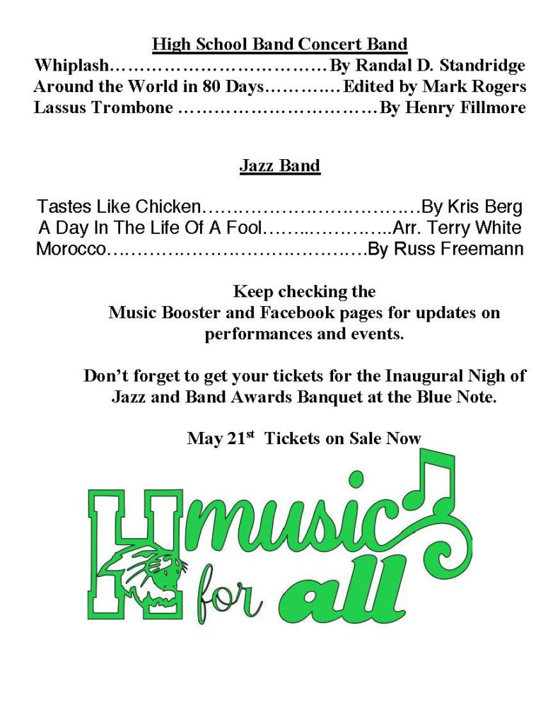 Program Flyer for May 7 – Harrison Music Boosters